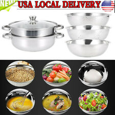 New listing 4Pcs Stainless Steel Pot Rice Sieve Steaming Pot Kit Kitchen Supplies Silver