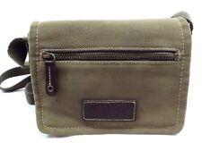 FOSSIL CROSSBODY BAG Handbag Shoulder Purse OLIVE Brown CANVAS LEATHER TRIM