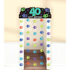 OVER THE HILL Party Continues 40th BIRTHDAY DOORWAY CURTAIN ~ Supplies Foil Blue