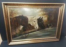 VTG OIL ON BOARD HORSE PAINTING W/ GOLD GILT ARTS & CRAFTS ANTIQUE STYLE FRAME
