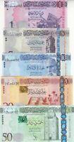 LIBYA 1 5 10 20 50 DINAR 2013 2015 P-76 79 80 81 82 NEW UNC SET