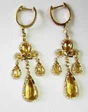 Fine 4.20TCW Natural Pear Citrine Dangling/Chandelier Earrings 14k Yellow Gold