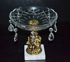 VAL ST.LAMBERT COMPOTE CRYSTAL BOWL WITH PRISMS,  MARBLE PEDESTAL