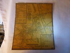 VERY SCARCE 1857 Abington Centre MAss MAP on Linen w/Business Directory & Hotels