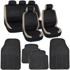 13 PC Car Seat Covers & Heavy Duty Rubber Floor Mats Set Beige/Black Sedan Truck