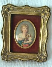 Antique Small Picture Frame Ornate Brass Oval Convex Glass French Velvet Mount