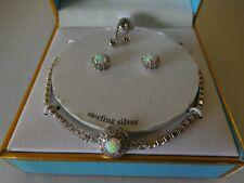 New Stella Picciotto Swarovski Crystal,Opal Sterling Silver Bracelet & Earrings