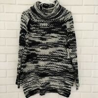 a. .n.a. A New Approach Womens Turtleneck Sweater Small Black Grey Space Dye NWT