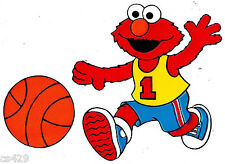 "5.5"" SESAME STREET ELMO SPORTS BASKETBALL  PREPASTED WALL BORDER CUT OUT"