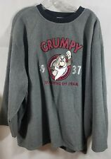 Disney Sweatshirt Gray Grumpy Just Blowing Off Steam Fleece Big Tall Size XXXL