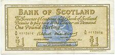 BANK OF SCOTLAND ONE POUND BANKNOTE 10TH MAY 1965
