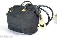 Vintage CELINE Black Nylon & Leather Small Tote Shoulder Bag Italy