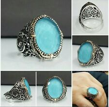 Turkish Jewelry 925 Sterling Silver Men ring ALL SİZE with blue aquamarine stone