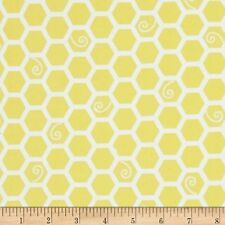 Fabric Baby Bee's Honeycomb on Yellow Flannel by the 1/4 yard