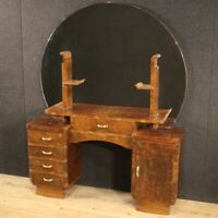 Dressing table commode mirror in walnut wood antique style sideboard 900