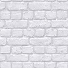 RASCH BRICK WALL PATTERN FAUX EFFECT WHITE STONE TEXTURED WALLPAPER