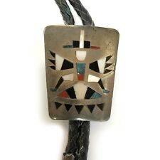 Handmade Zuni Sterling Silver Turquoise Inlay Knife Wing Bolo