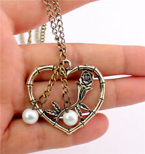 Hot New Fashion Vintage Flower Leaf Pearl Love Heart Pendant Long Chain Necklace