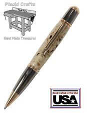 Handmade Gun Metal & 24ct. Gold Pen / Solid Surface Body & Fisher Ink / #015