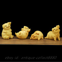 "4PCS 3.1"" Chinese Box-wood Hand Carved Zodiac Animal Four Xi Pig Lucky Statue 喜猪"