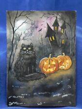 Original ACEO Halloween Black Cat Pumpkin Haunted Castle Painting - Resale