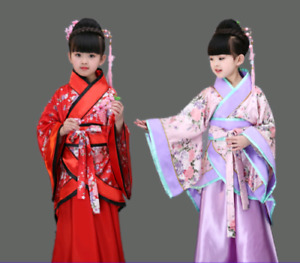 Kids Girls Dress Tang Dynasty Ruqun China Hanfu Suit Cosplay Gown Retro Costume