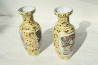 Pair Vintage Japanese Satsuma Vases Painted Glazed Exotic Birds & floral