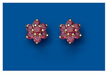 Ruby Earrings Ruby Cluster Studs Ruby Stud Yellow Gold Ruby Earrings