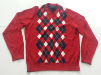 Tommy Hilfiger Men Size M Cotton Sweater V-Neck Red with Checkers Pattern