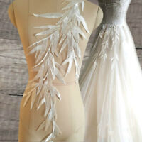 1m Lace Embroidery Leaves Applique Crafts Sew Patterns Bridal Wedding Dress Chic