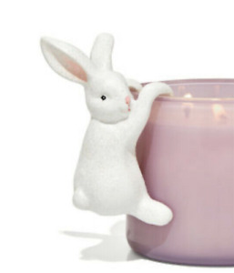 Bath & Body Works Candle Jar Clinger Hanging Edge White Glitter Bunny Rabbit NEW