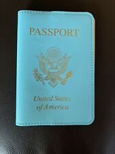 BAEKGAARD Leather Passport Cover Holder Turquoise Blue Yellow