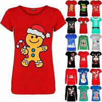 Womens Ladies Christmas Xmas Cap Sleeve Gingerbread Elfie Reindeer T Shirt Top