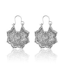 Women Gold/Silver Boho Mandala Flower Hoop Dangle Earrings Indian Tribal Style