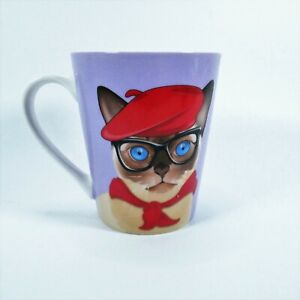 Christopher Vine Australia Mademoiselle Coffee Mug Purple Cat Red Hat 12 ounce