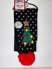 Christmas Tree LED Light Knit Black Scarf Lighted Battery Ugly Sweater Party