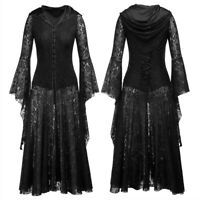 Steampunk Gothic Halloween Hooded Witch Women Medieval Lace Up Long Maxi Dress