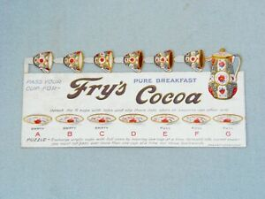 FRY'S COCOA, DIE CUT ADVERTISING TRADE CARD, CUP PUZZLE, EPHEMERA C1900.