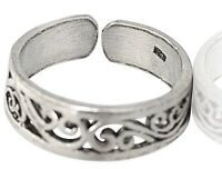 Sterling Silver Toes Finger Adjustable Toe Open Ring Plain Band
