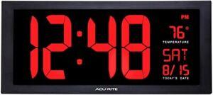 "18"" Large Office Gym LED Digital Wall Clock Desk Alarm Calendar Temp Date"