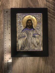 Clarte Greek Sterling Silver 950 Icon Jesus Copy of Byzantine Signed Plaque