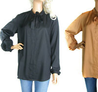 SIZE 12 - 20 LADIES BLACK OR ORANGE PUSSY BOW BLOUSE SHIRT LONG SLEEVE TOP PLUS