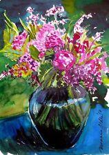 """Stordimento doranne Alden ORIGINALE """"mixed BOUQUET"""" fiore dipinto ad acquerello"""