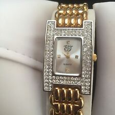 ELIZABETH TAYLOR WOMEN LADIES WATCH WITH CHANNEL-SET CRYSTALS GOLD TONE