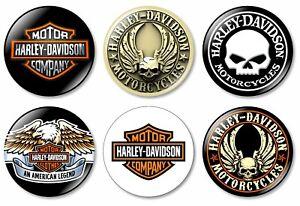6 x Harley Davidson 32mm BUTTON PIN BADGES Logo Motorcycles Motorcycle Gift Bike