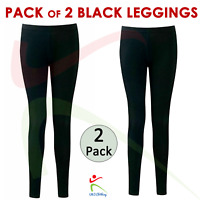 2 PACK Kids Girls Ankle Length Stretch Fit Cotton BLACK Leggings Casual 2-13 YRS