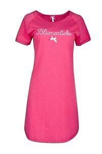 "LOUIS & LOUISA  "" Blumenliebe "" Nachthemd Oversice  uni pink Gr. S   NEU"
