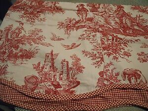 """2 WAVERLY French Country Toile VALANCE Red & Cream Scalloped 74"""" x 17"""" Layered"""
