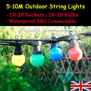 8M 13M 24V UK Plug Waterproof Outdoor Garden Festoon String Lights Multi Colored
