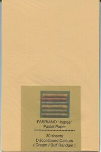 """A pack of 30 sheets """" FABRIANO ' INGRES ' PASTEL PAPER ( Discontinued Colours )."""